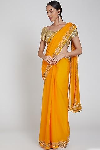 Yellow Embroidered & Striped Saree Set by Bhairavi Jaikishan