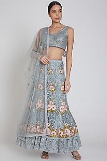 Dove Blue Zardosi Embroidered Lehenga Set by Bhairavi Jaikishan