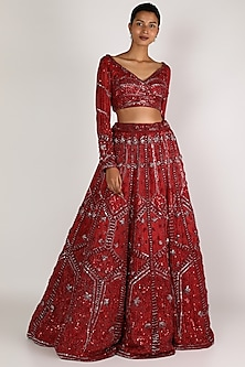 Cranberry Red Embroidered Lehenga Set by BINDANI JIGAR NIKITA