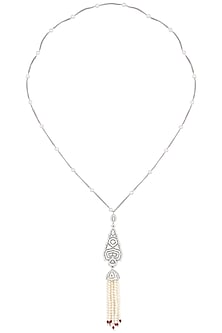 Rhodium Finish Zircons and Pearl Jhumkis Necklace by BEJEWELED