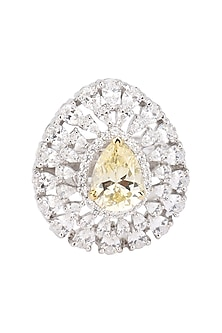 Rhodium Finish Zircons and Yellow Diamond Cocktail Ring by BEJEWELED