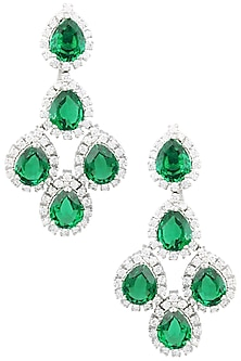 Rhodium Finish Zircons and Emerald Stones Earrings by BEJEWELED