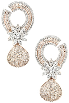 Rose Gold and Silver Finish Cocktail Earrings by BEJEWELED