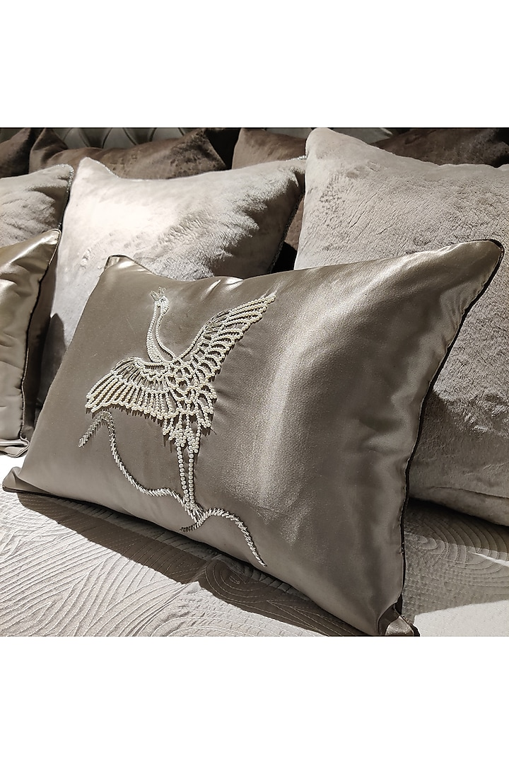 Champagne Embroidered Cushion Cover With Fillers by Barkat