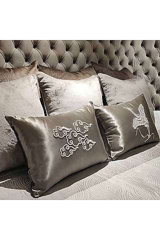 Champagne Hand Embroidered Cushion Cover With Fillers by Barkat