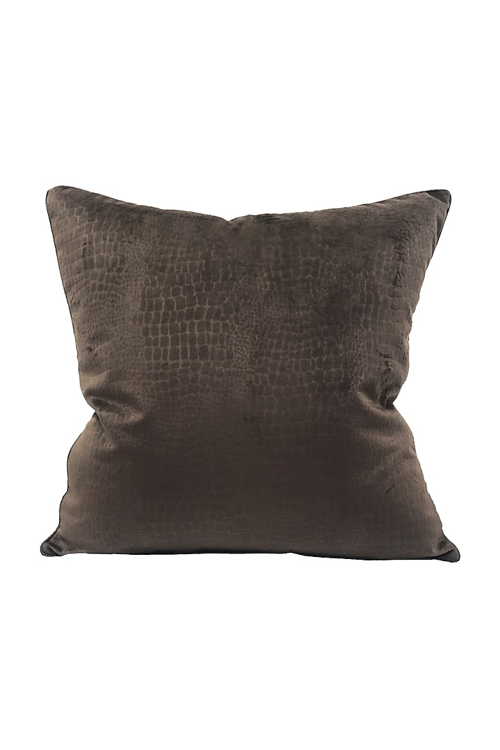 Chocolate Brown Textured Cushion Cover With Fillers by Barkat