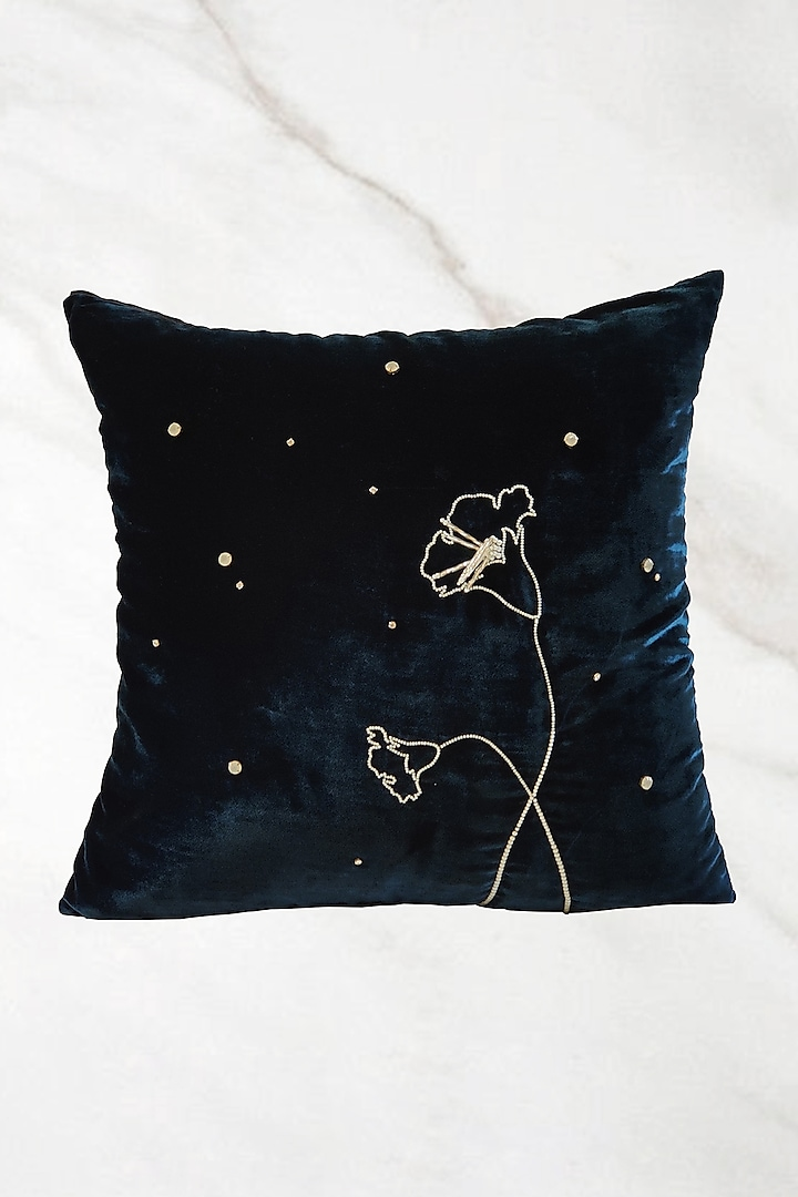 Blue Embroidered Cushion Cover With Fillers by Barkat
