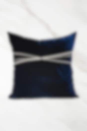 Blue Embroidered Velvet Cushion Cover With Fillers by Barkat