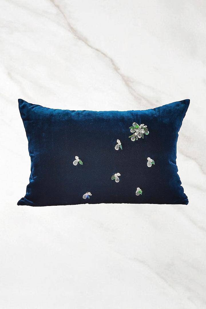 Blue Embroidered Velvet Cushion Cover by Barkat