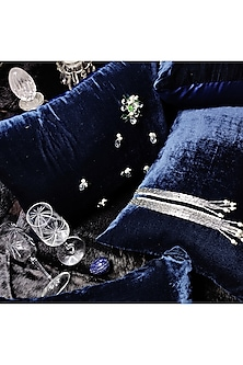 Blue Embroidered Velvet Cushion Cover by Barkat