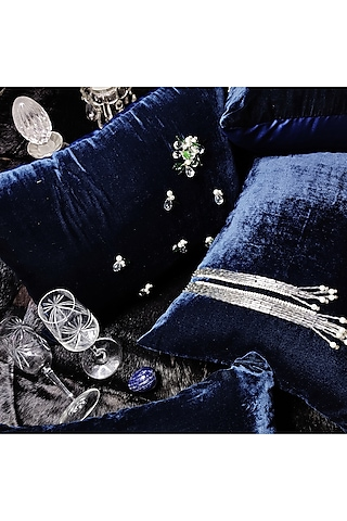 Blue Velvet Cushion Cover With Fillers by Barkat