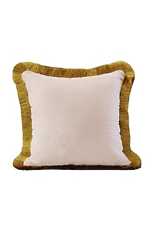 Rose Pink & Gold Velvet Cushion Cover With Fillers by Barkat
