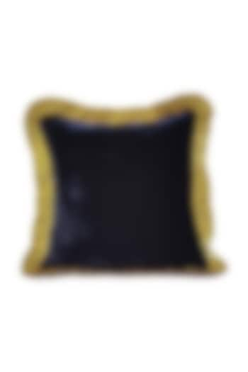 Midnight Blue & Gold Velvet Cushion Cover With Fillers by Barkat
