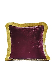 Crimson Red & Gold Velvet Cushion Cover With Fillers by Barkat