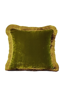 Moss Green & Gold Velvet Cushion Cover With Fillers by Barkat