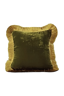 Moss Green Velvet Cushion Cover With Fillers by Barkat