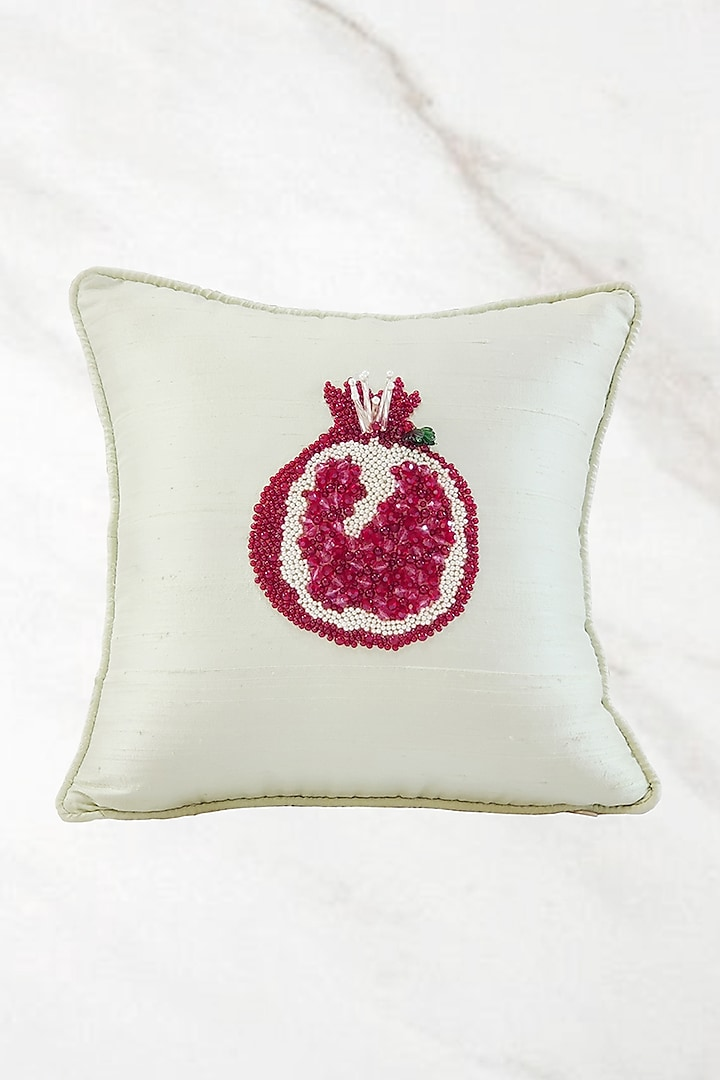 Mint Green Embroidered Cushion Cover With Fillers by Barkat
