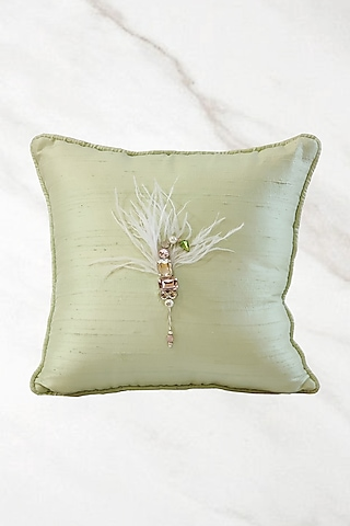 Mint Green Hand Embroidered Cushion Cover With Fillers by Barkat