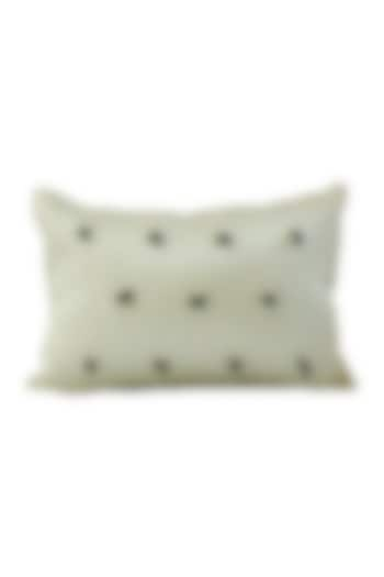 Mint Green Embroidered Raw Silk Cushion Cover by Barkat