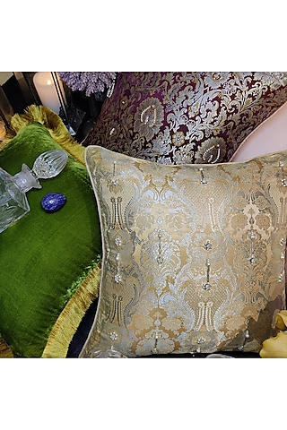 Beige Embroidered Brocade Cushion Cover by Barkat
