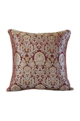 Wine Embroidered Brocade Cushion Cover by Barkat