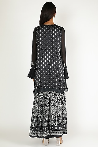 Charcoal Black Printed & Embroidered Sharara Set by Basil Leaf