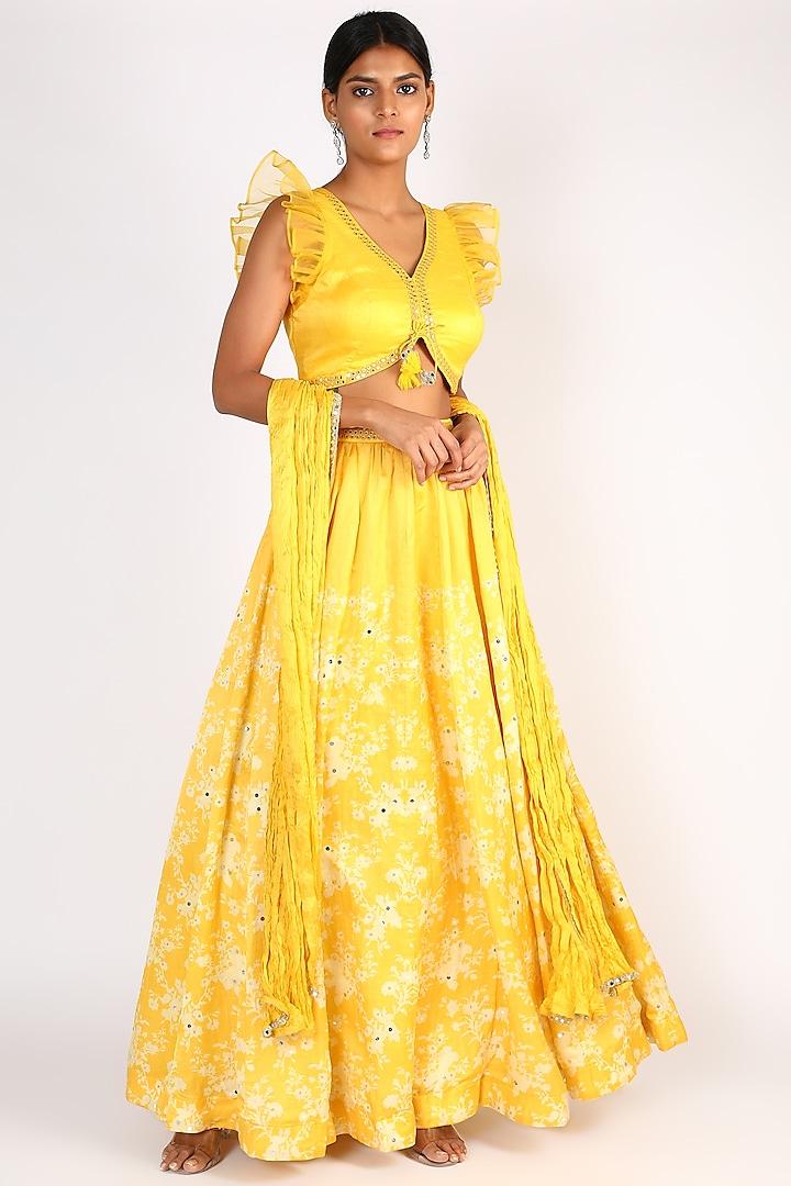 Lime Yellow Embroidered Lehenga Set by Basil Leaf