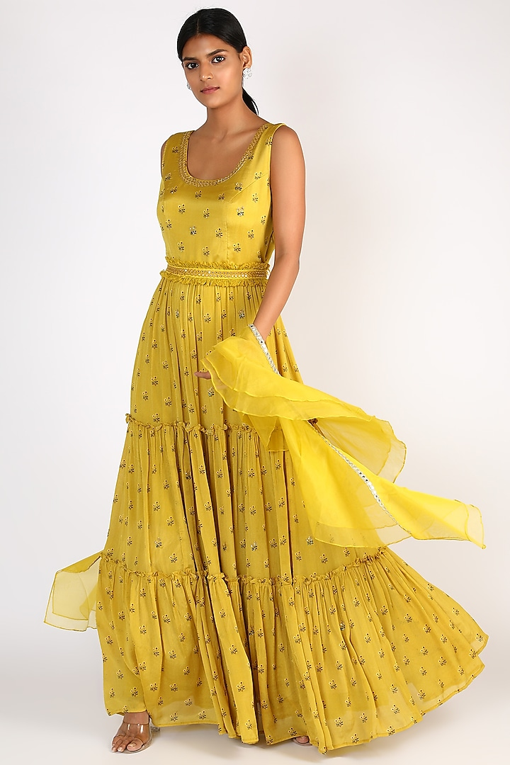 Yellow Floral Printed Gown by Basil Leaf