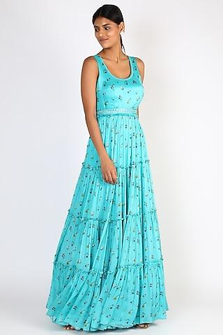 Teal Blue Floral Printed Gown by Basil Leaf