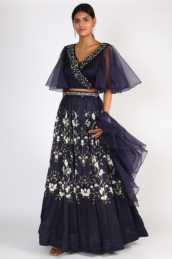 Navy Blue Floral Printed Skirt Set by Basil Leaf