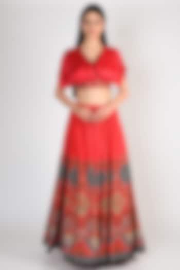 Red Printed & Embroidered Flared Lehenga Set by Basil Leaf