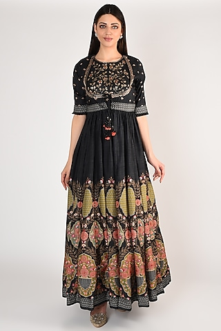 Charcoal Black Floral Printed Gown With Jacket by Basil Leaf