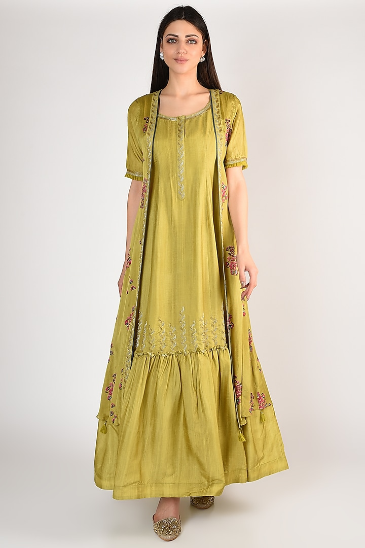 Lime Hand Embroidered Gown With Jacket by Basil Leaf