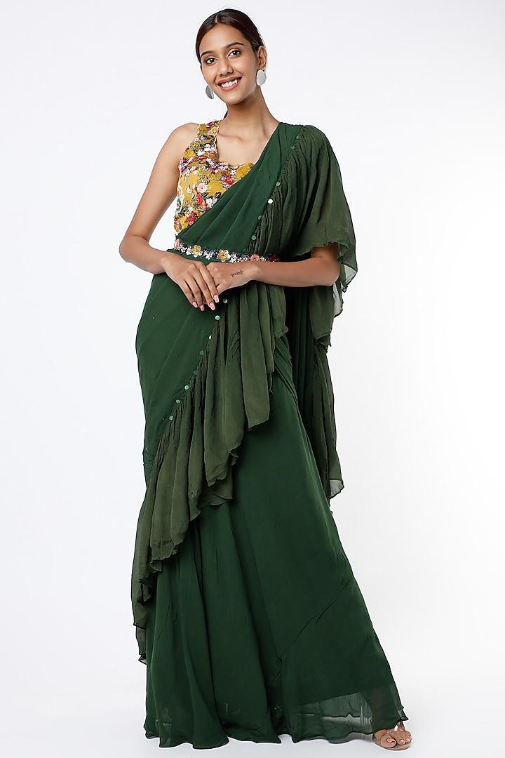 Bottle Green Georgette Saree Set by Basil Leaf