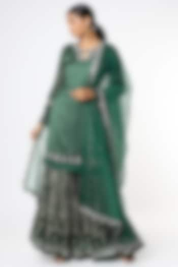 Bottle Green Georgette Sharara Set by Basil Leaf