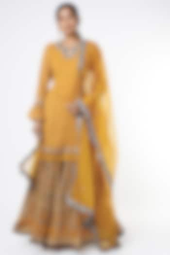Mustard Printed Sharara Set by Basil Leaf