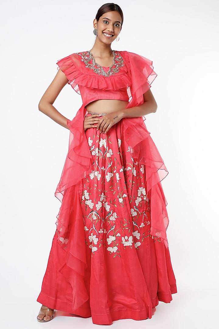 Pink Tussar Lehenga Set by Basil Leaf