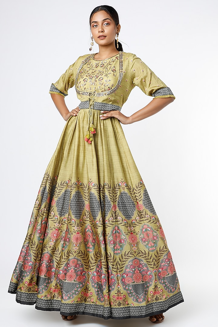 Mustard Printed Gown With Jacket by Basil Leaf