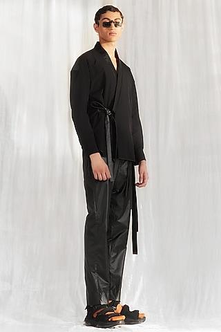 Black Kimono With Pants by BLONI MEN