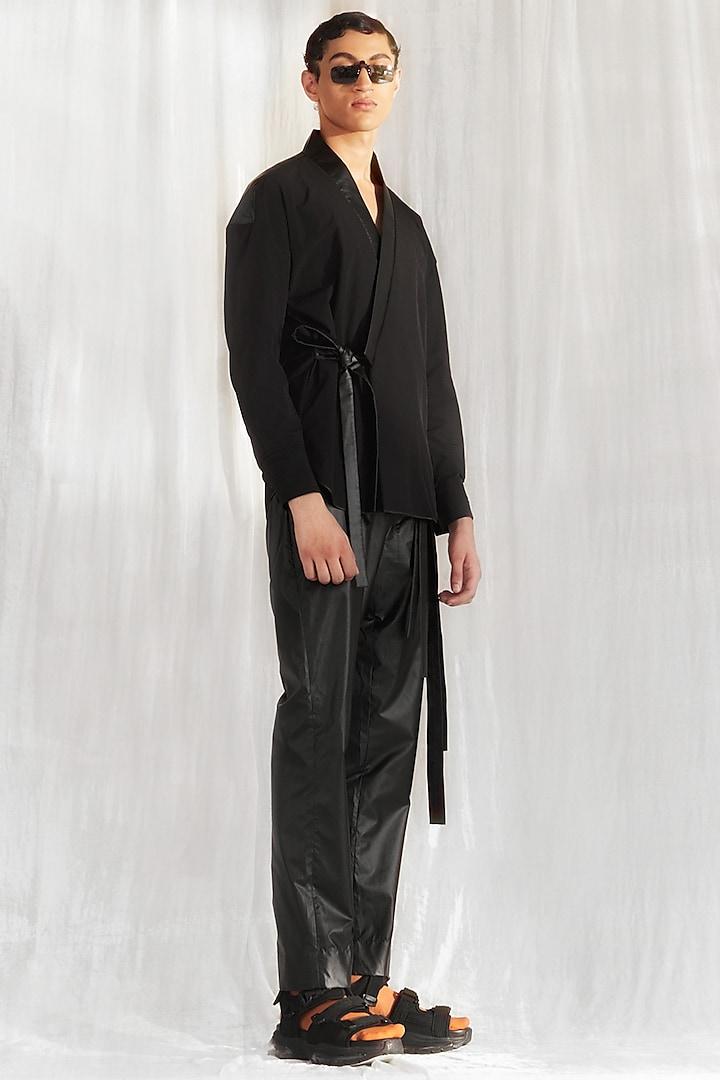Black Kimono With Drop Shoulders by BLONI MEN