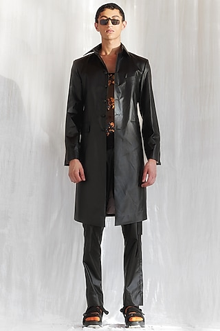 Black Faux Leather Trench Coat by BLONI MEN