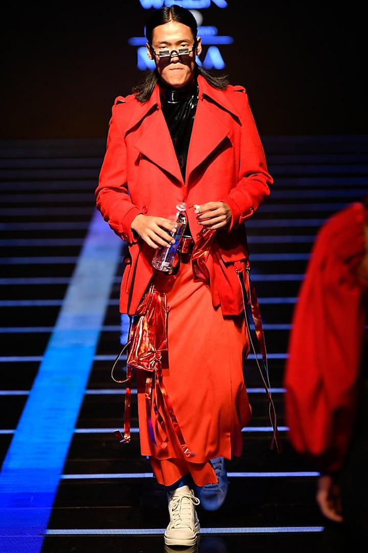 Red Travel Coat With T-shirt & Pants by BLONI MEN