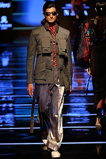 Grey Safari Jacket With Red T-Shirt & Pants by BLONI MEN