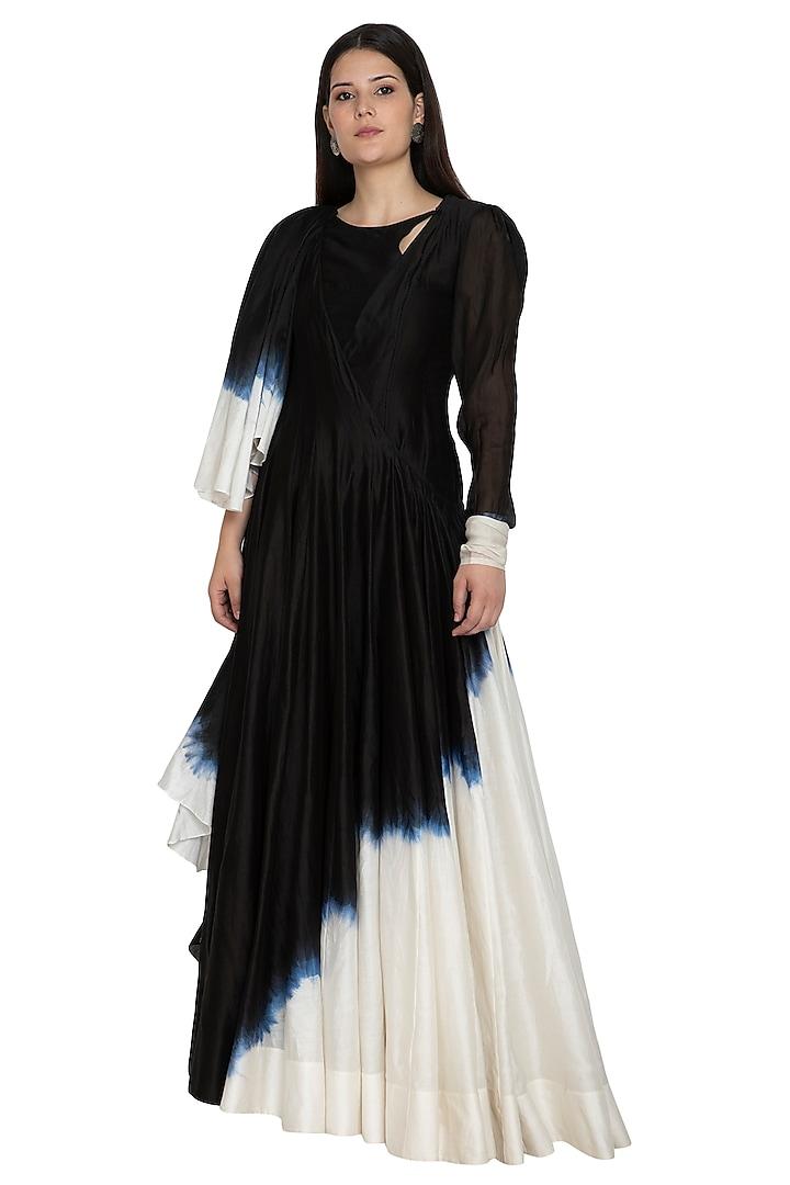 Black Draped Tie-Dye Anarkali by BLONI