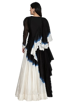 Black Draped Tie-Dye Anarkali by BLONI