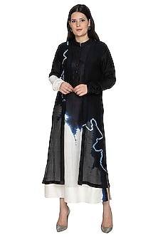 Black Tie-Dye Layered Kurta by BLONI