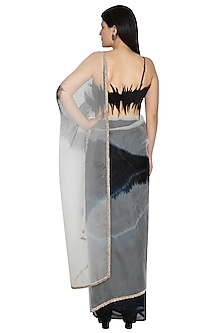 Black Tie-Dye Organza Saree With Skirt by BLONI