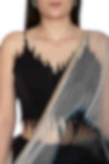 Black Tie-Dye Organza Saree With Skirt by BLONI
