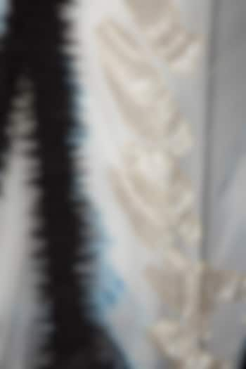 White Tie-Dye Embroidered Saree With Skirt by BLONI