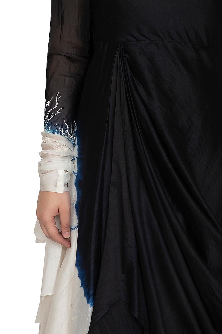Black Tie-Dye Asymmetrical Dress by BLONI